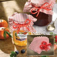 "JAM JAR COVERS - SET OF 12 Brighten up your homemade jam or preserves with these decorative cotton covers! Adorable red gingham design makes them ideal for gifting. Fits jars up to 3-1/2""Diam. Includes 12 covers and 12 matching 17""L ties. Each cover is 5-3/4""SQ."