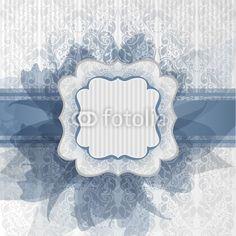 Biglietto romantico con fiori blu- Template for greeting card