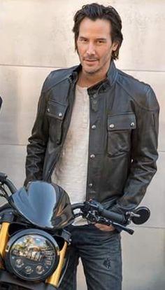 Keanu Reeves with his motorcycle