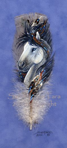 Spirit Pony by ssantara.deviantart.com - imagine what it took to paint this on a feather!  Just amazing!