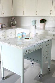 More DIY Kitchen Islands! • Lots of Ideas and Tutorials! Including, from 'my old country house', this beautiful diy kitchen island made from an old desk.