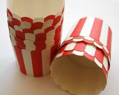 Red Stripe Nut or Portion Paper Baking Cups with Scalloped Tops - set of 12 for $2.65