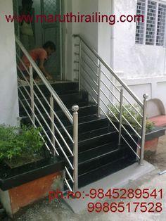 Steel Railings Bangalore, Stainless Steel Railing, Home Railings, Balcony Railings Supplier & Dealer In Bangalore, India Front Stairs, Stainless Steel Railing, Front Grill, Balcony Railing, Grill Design, Design Art, Art Deco, Home, House