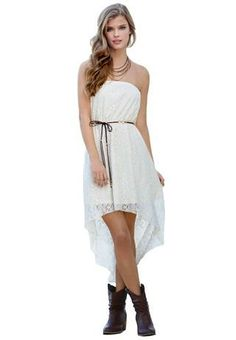 Adorbs! Down to the boots and throw a cute jean jacket on top for those chilly nights! CROCHET TUBE HI-LOW DRESS WITH BELT | Body Central