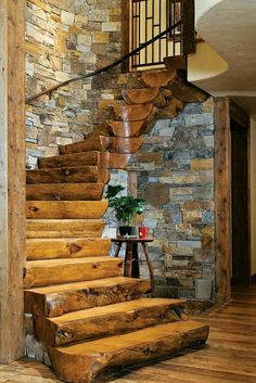 Nice stairs made from log pieces.