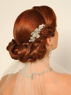 Wedding Hair Style. Nice veil placement.
