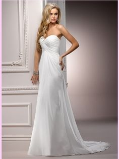 White Column Sweetheart Chiffon Bridal Gown