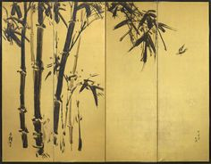 A pair of four-fold paper screens painted in ink on a gold ground with take (bamboo) and suzume (sparrows). This left-hand screen shows two suzume (sparrows) and take (bamboo).    Inscription lower right: Shosen hijaku wo utsutsu. Flying sparrow painted by Shosen  Signed above the perched sparrow: Ikka  Lower left signed: Beisen hitsu    (19th/20th century Meiji period)