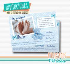 Bautismo nene - Tarjetita bautismo nene osito para imprimir