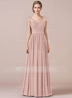 A-Line/Princess V-neck Floor-Length Zipper Up Cap Straps Short Sleeves No Black Spring Summer Fall General Plus Chiffon Lace Height:5.7ft Bust:32in Waist:23in Hips:34in US 2 / UK 6 / EU 32 Bridesmaid Dress
