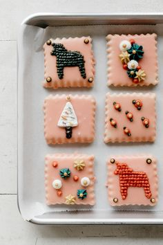 glazed sugar cookies with buttercream embroidery