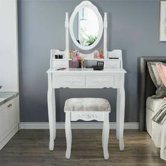 Giantex Vanity Table Set with Oval Mirror and 4 Drawers, Makeup Dressing Table with Cushioned Stool, Wooden Makeup Table for Bedroom Bathroom Girls Women, White Vanity Table Set, Vanity Set With Mirror, Wood Vanity, Oval Mirror, White Vanity, Makeup Dressing Table, Dressing Table With Stool, Girl Bathrooms, Desk And Chair Set