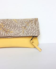 Leather cotton fold over clutch Zippered purse bag wallet Javanese Batik yellow brown on Etsy, €30,25