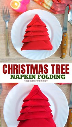 christmas tree ideas videos This Christmas turn a boring napkin into a wonderful craft with this simple tutorial on Christmas Tree Napkin Folding! Add personality to your Christmas table in just 2 minutes with an adorable folding Christmas tree! Christmas Tree Napkin Fold, Diy Christmas Tree, Simple Christmas, Folding Napkins For Christmas, Nordic Christmas, Modern Christmas, Christmas Quotes, Christmas Pictures, Christmas Christmas