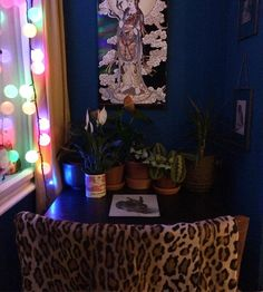 interior, dark, blue, flower, my work, design, eclectic, plants