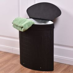Costway Triangle Bamboo Hamper Laundry Basket Washing Cloth Storage Bin Bag W/Lid Black