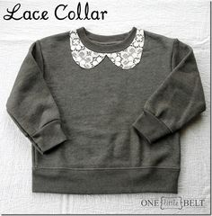 LOVE this DIY lace-collared sweatshirt. Could be done to a tee as well, or anything else you can think of!