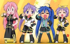 Lucky Star/Vocaloid crossover!! LOL considering that the LS girls can't sing,it's funny they're dressed like Vocaloids because the Vocaloids can sing..