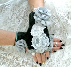 SALE Arm warmers shabby rose Romantic by TrueRebelClothing on Etsy, $36.00