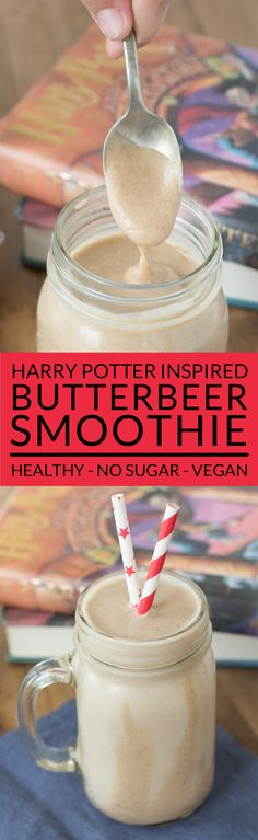 Make a homemade Harry Potter Butterbeer Smoothie and feel the magic! This easy smoothie recipe tastes like the Butterbeer sold at Hogsmeade in the Wizarding World of Harry Potter but it contains no sugar and its vegan. Perfect for healthy kids! Fruit Smoothies, Smoothies Vegan, Yummy Smoothies, Smoothie Drinks, Homemade Smoothies, Vegetable Smoothies, Avacado Smoothie, Simple Smoothies, Breakfast Smoothies