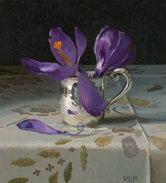 Jeremy Galton  Crocuses  Oil on Canvas  signed  21 X 19 cm  £1,250 http://www.cattogallery.co.uk/available_artwork.html?artist=jeremy-galton