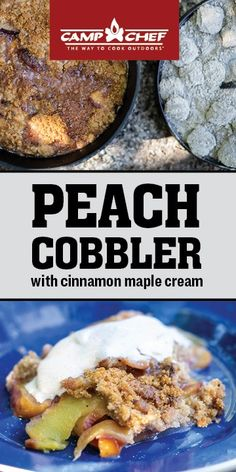 Dutch Oven Cooking, Dutch Oven Recipes, Cooking Recipes, Crockpot Recipes, Dutch Oven Peach Cobbler, Just Desserts, Dessert Recipes, Food For A Crowd, Outdoor Cooking