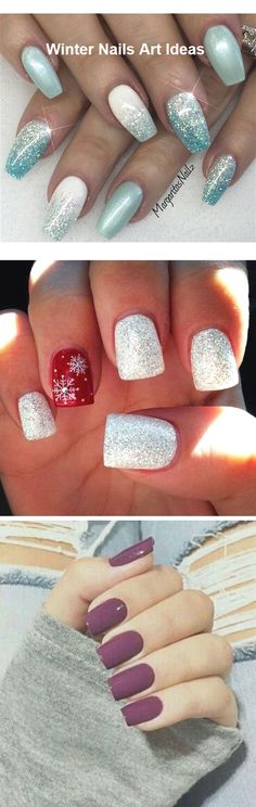32 Great Ideas Nail Art Design for Wintry Mood # Naildesign - - Cute Nail Art, Cute Nails, Pretty Nails, New Years Nail Designs, Nail Art Designs, Winter Nail Art, Winter Nails, New Year's Nails, Hair And Nails