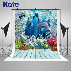 3D Cartoon Underwater World Photography Backdrops by katehome2014