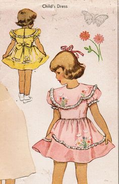 McCall 1472: Use this 1940s vintage sewing pattern for toddler girls to sew an adorable dress with wonderful heirloom-quality details that simply delight - lace ruffles, asymmetrical scalloped accents, and delicate hand-embroidered butterflies and flowers!  The dress has dart-fitted