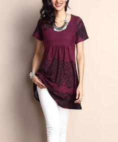 Another great find on #zulily! Plum Lace-Print Empire-Waist Tunic Dress #zulilyfinds