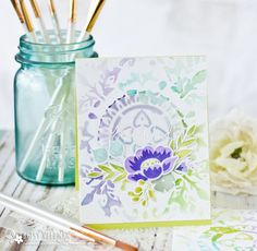 Make It Monday #282: Stenciled Watercolor Backgrounds - You're On My Mind Card by Betsy Veldman for Papertrey Ink (April 2017)