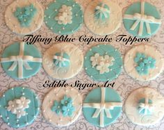Fondant Tiffany Blue Cupcake Toppers