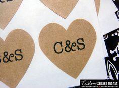 108 custom wedding stickers heart 3/4 inch by CustomStickerAndTag