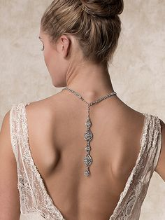 Wedding Necklace Bridal Necklace Back Drop by ChrysanthInc on Etsy