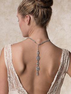 Wedding Necklace Bridal Necklace Back Drop van ChrysanthInc op Etsy