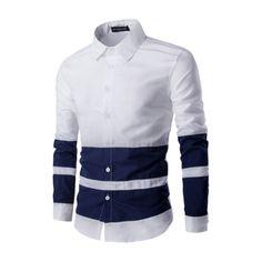 2017 Shirt Men Brand Business Casual Long Sleeve Turn-down Collar Striped Patchwork Contrast color Men Dress Shirt Men Clothes