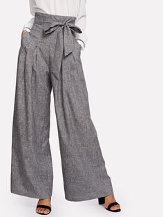 78044d94bdf1 Shop Self Belted Box Pleated Palazzo Pants online. SheIn offers Self Belted  Box Pleated Palazzo