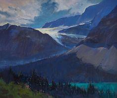 "'Crowfoot Glacier Sparkle' 20"" x 24"" Acrylic on Canvas by Artist Charlie Easton"