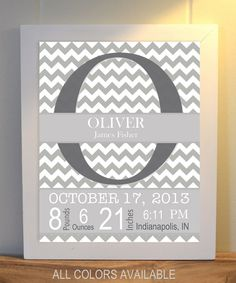 Grey white nursery art, baby boy nursery, nursery monogram, birth details art, babys room wall art on Etsy, $9.99