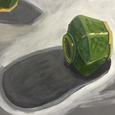 The most challenging view! Caused me more than a little stress at last night's art class! #artclass #wynterstreetartclass #acrylicpainting #art #arting #green #gingerjar #stilllife