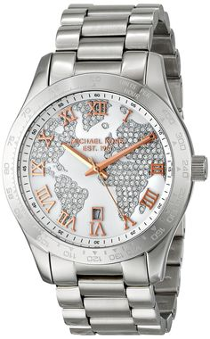 Michael Kors Layton Silver Crystal Pave Dial Stainless Streel Ladies Watch MK5958 --- This is my absolute dream watch right now.