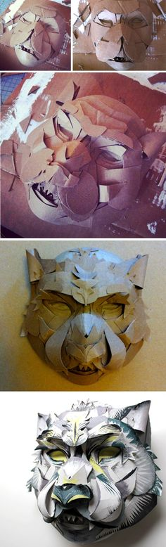 Snow Leopard Mask process - Jacqui Oakley Art Jacqui Oakley is amazing