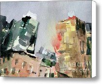 Milford Plaza 8th Avenue Watercolor Painting of New York Canvas Print / Canvas Art - Artist Bever...