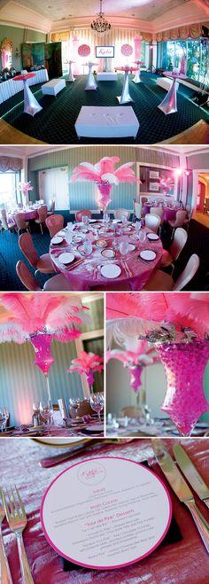 pink-bat-mitzvah-decor-table-centerpieces-feathers-menus