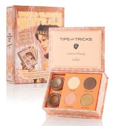 Benefit World Famous Neutrals - Most Glamorous Nudes Ever Eyeshadow Kit- 2 creaseless cream shadow in birthday suit and my two cents 4 longwear powder shadow in call my buff, kiss me, I'm tipsy, it's complicated and gilt-y pleasure Benefit Cosmetics, Benefit Makeup, Makeup Cosmetics, Cosmetic World, Cosmetic Shop, Maid Of Honour Gifts, Maid Of Honor, Neutral Eyeshadow, World Famous