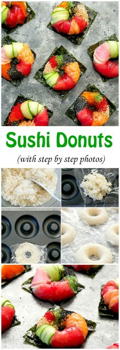 Homemade sushi rolls shaped like donuts is a fun way to serve sushi at home! Learn how to make sushi donuts with detailed step-by-step photos. Sushi Recipes, Asian Recipes, Sushi Donuts, Sushi Sushi, Tempura Sushi, Sushi Cake, Sushi Food, Donuts Donuts, Sushi At Home