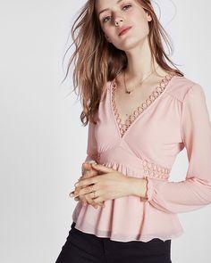 picot trim long sleeve blouse
