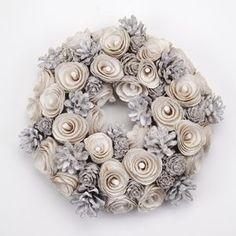 White Pinecone Christmas Wreath - wreaths