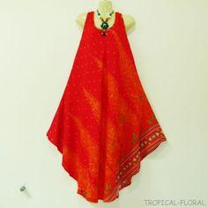 Dress Plus Size Boho Hippie Gypsy Red Peacock Casual Summer Beach Sundress 2X
