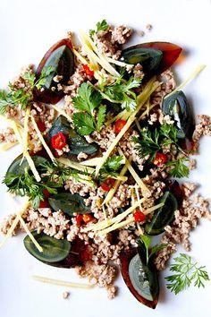 Century Egg Salad with Pork and Fresh Ginger (ยำไข่เยี่ยวม้า)